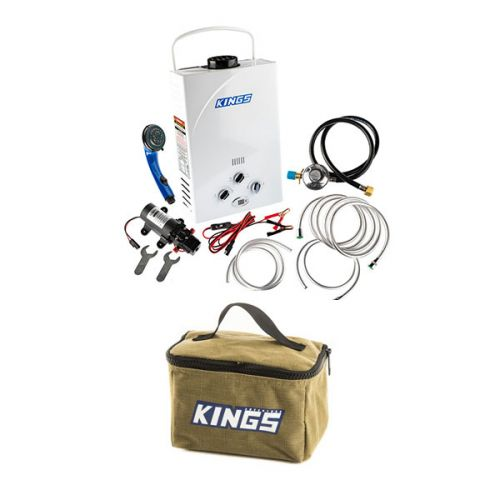 Kings Portable Gas Hot Water System + Adventure Kings Toiletry Canvas Bag