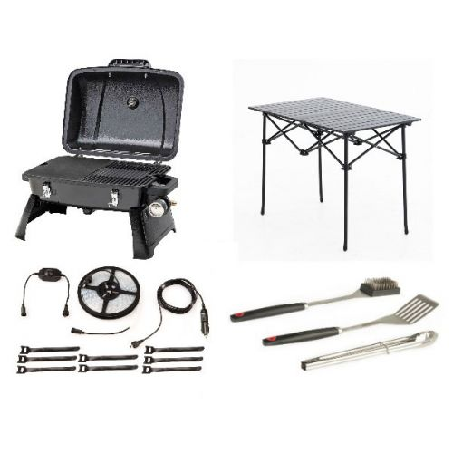 Gasmate Voyager Portable BBQ + Adventure Kings BBQ Tool Set + Aluminium Roll-Up Camping Table + Illuminator 4m MAX LED Strip Light