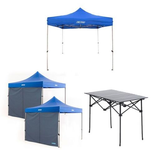 Adventure Kings - Gazebo 3m x 3m + 2x Adventure Kings Gazebo Side Wall + Adventure Kings Aluminium Roll-Up Camping Table