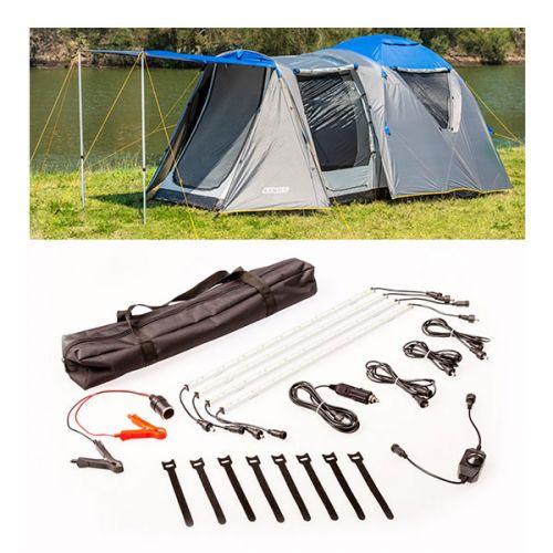 Adventure Kings 6 Person Geo Dome Tent + Illuminator 4 Bar Camp Light Kit