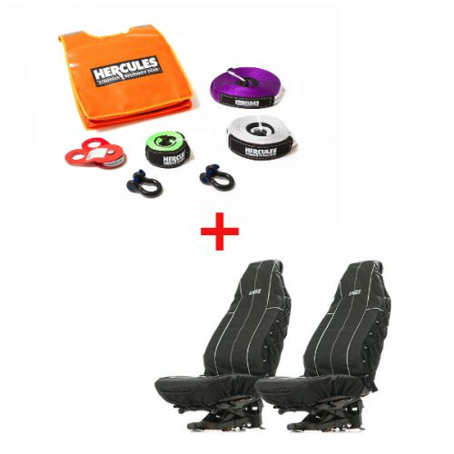 Hercules Essential Nylon Recovery Kit + Adventure Kings Heavy Duty Seat Covers (Pair)