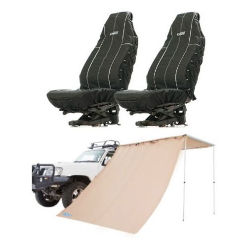 Adventure Kings Awning Side Wall + Adventure Kings Heavy Duty Seat Covers (Pair)