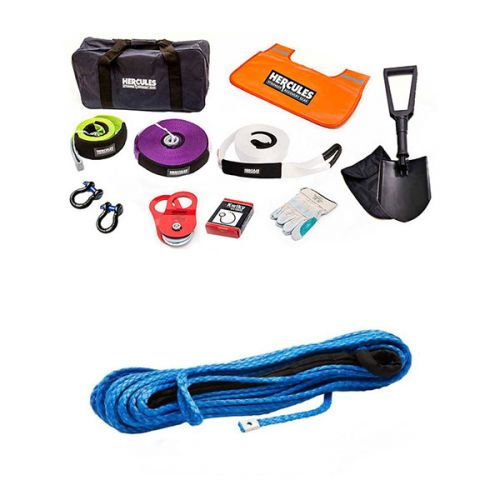 Hercules Complete Recovery Kit + Synthetic Winch Rope - 9mm x 28m