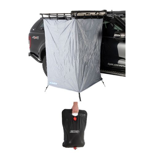 Kings Instant Ensuite Awning Shower Tent + Adventure Kings Solar Shower