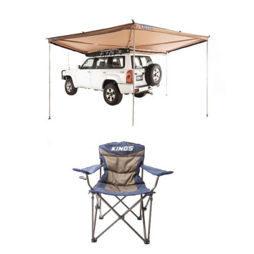 Adventure Kings 270° King Wing Awning + Throne Camping Chair