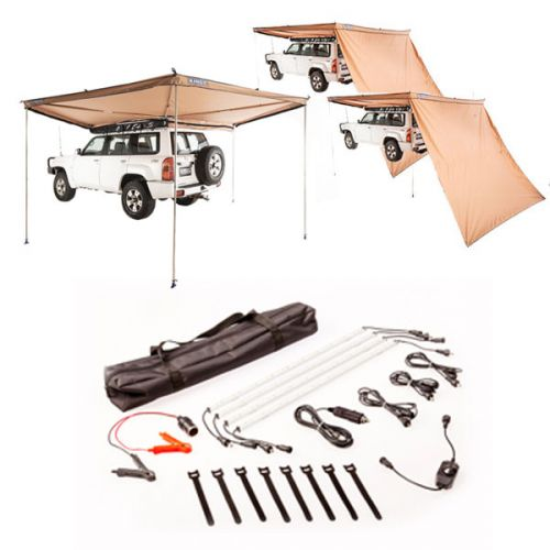 Adventure Kings 270° King Wing Awning + 2x 270° King Wing Awning Wall + Illuminator 4 Bar Camp Light Kit