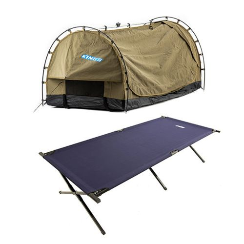 Kings Deluxe Escape Single Swag + Camping Stretcher Bed