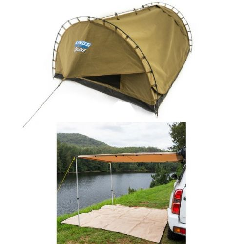 2 x 3m 2 in 1 Awning + Strip Light + Adventure Kings Double Swag Big Daddy Deluxe