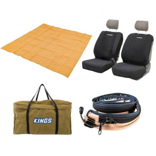 Adventure Kings - Mesh Flooring 3m x 3m + Adventure Kings LED Strip Light + Neoprene Seat Covers + BBQ Canvas Bag