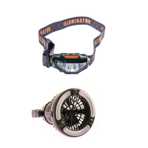 Adventure Kings 2in1 LED Light & Fan + Illuminator LED Head Torch
