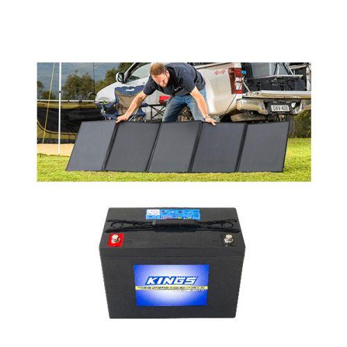 Adventure Kings 250W Solar Blanket + AGM Deep Cycle Battery 98AH
