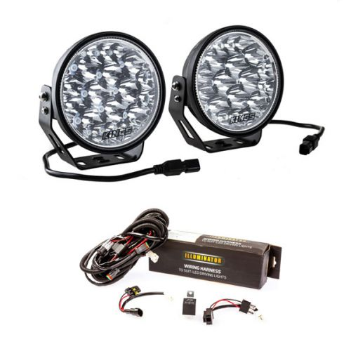 """Adventure Kings Domin8r Xtreme 7"""" LED Driving Lights (Pair) + Spotlight Wiring Harness"""