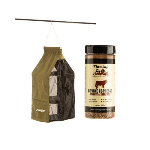 Adventure Kings Hanging Pantry + Flaming Coals Bovine Espresso Brisket & Steak Rub