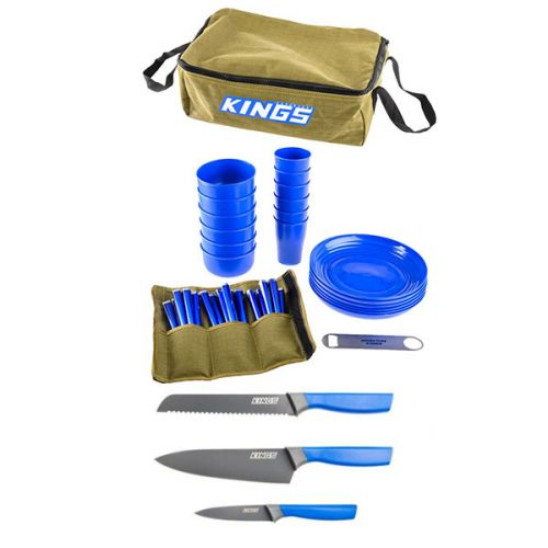 Adventure Kings 37 Piece Picnic Set + 4-Piece Camping Chef's Knives Kit