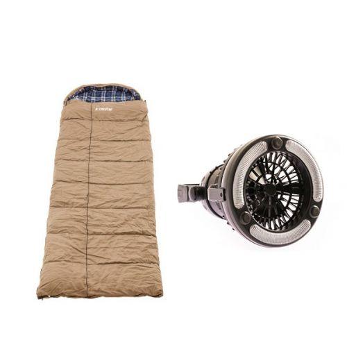 Premium Sleeping bag -5°C to 5°C Degrees Celsius Right Zipper + Adventure Kings 2in1 LED Light & Fan