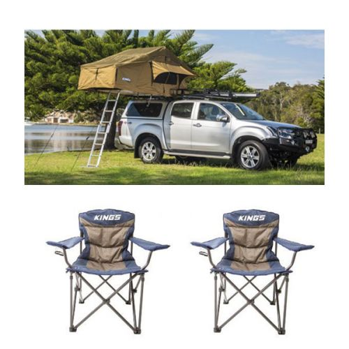 Adventure Kings Roof Top Tent + 2x Adventure Kings Throne Camping Chair