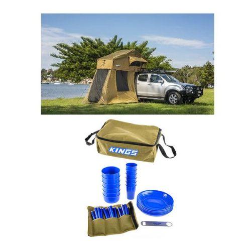Adventure Kings Roof Top Tent + 4-man Annex + 37 Piece Picnic Set