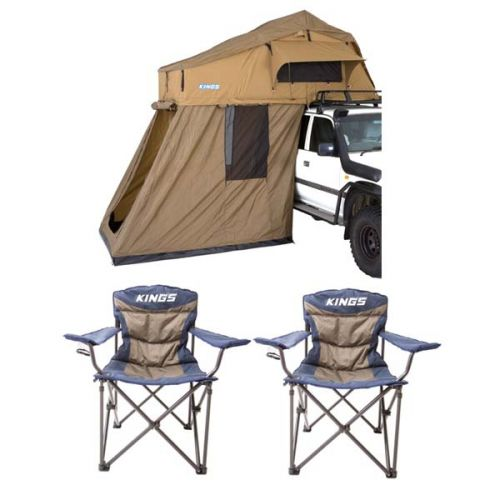 Adventure Kings Roof Top Tent + 4-man Annex + 2x Adventure Kings Throne Camping Chair