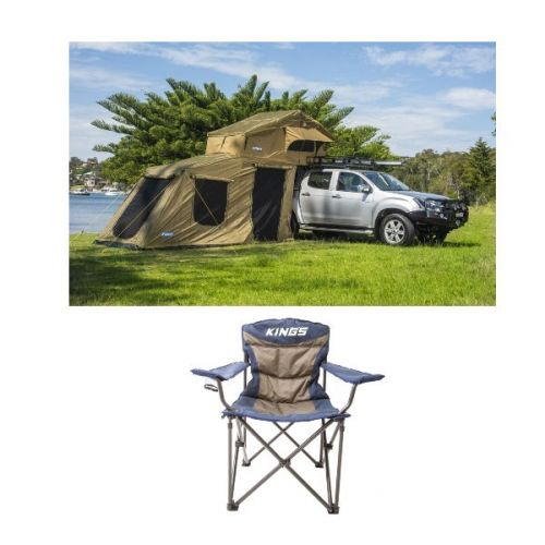 Adventure Kings Roof Top Tent + 6-man Annex + Throne Camping Chair