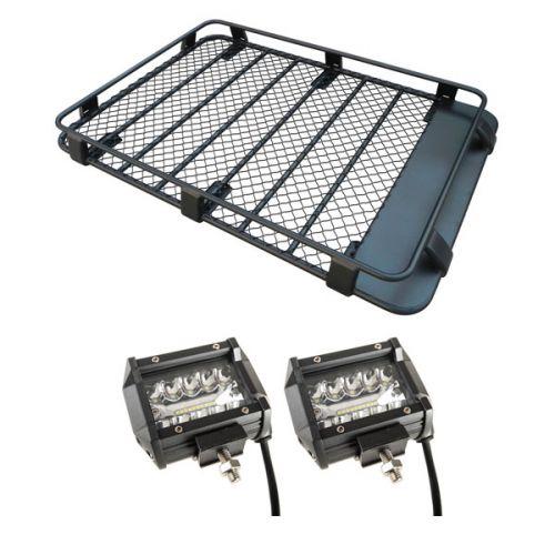"""Steel Roof Rack 3/4 Length + 4"""" LED Light Bar (Pair)"""