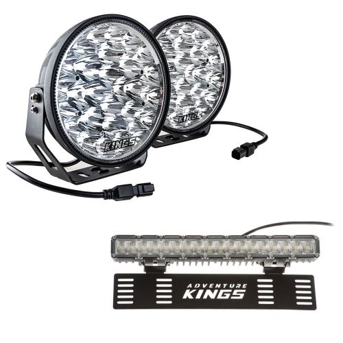 "Adventure Kings Domin8r Xtreme 9"" LED Driving Lights (Pair) + 15"" Numberplate LED Light Bar"