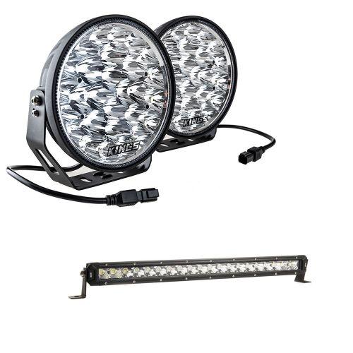 "Adventure Kings Domin8r Xtreme 9"" LED Driving Lights (Pair) + 20"" LETHAL MKIII Slim Line LED Light Bar"