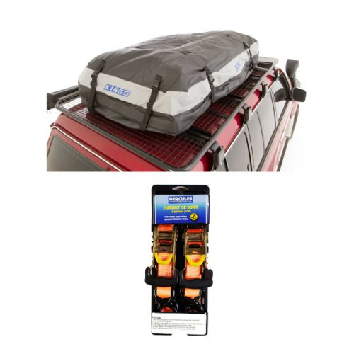 Adventure Kings Premium Roof Top Bag + Hercules Heavy Duty 3m Ratchet Strap (2 pack)