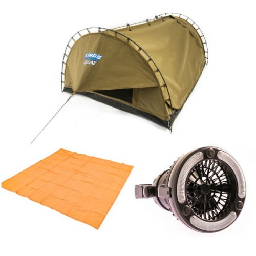 Adventure Kings Double Swag Big Daddy Deluxe + Adventure Kings - Mesh Flooring 3m x 3m + 2in1 LED Light & Fan