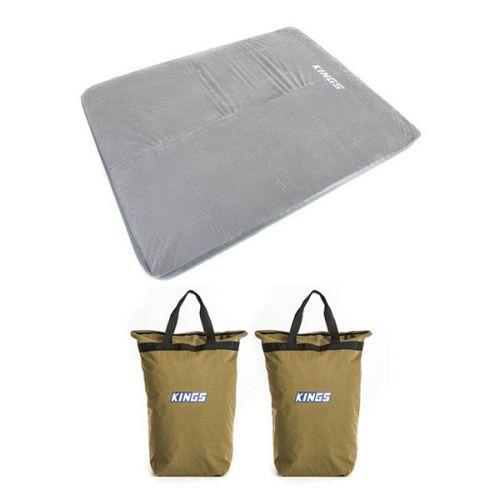 Adventure Kings Self Inflating 100mm Foam Mattress - Queen + 2 x Doona/Pillow Canvas Bag