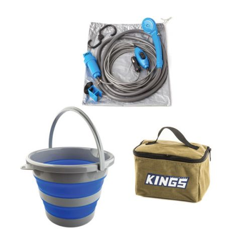 Adventure Kings Toiletry Canvas Bag + Portable Shower Kit + Collapsible 10L Bucket