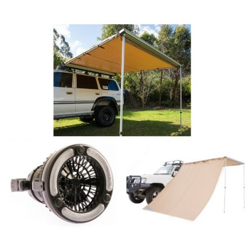 Adventure Kings Awning 2.5x2.5m + Adventure Kings Awning Side Wall + Adventure Kings 2in1 LED Light & Fan