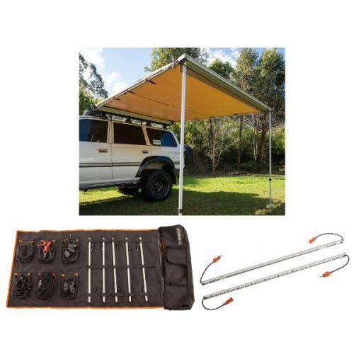 Adventure Kings Awning 2.5x2.5m + Orange LED Camp Light Extension Kit + Complete 5 Bar Camp Light Kit