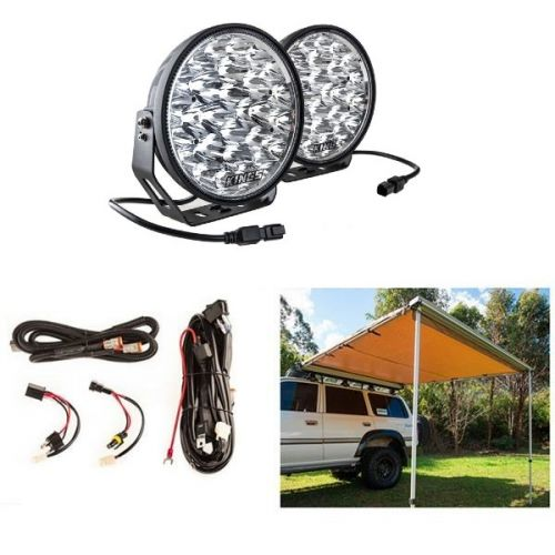 """Adventure Kings 2.5 x 2.5m Kings Side 4WD Awning + 9"""" LED Driving Lights (Pair) + Smart Harness"""