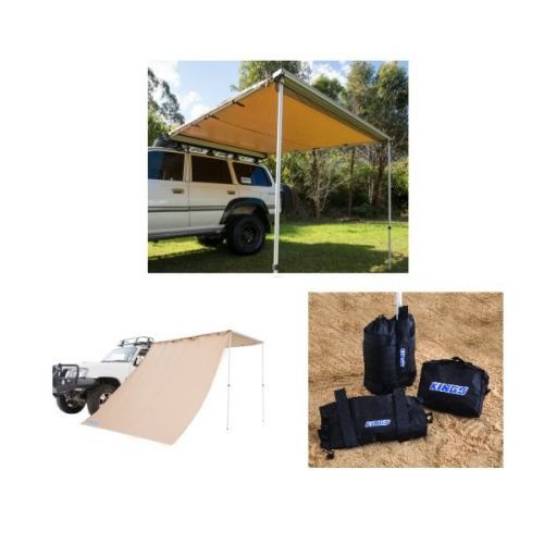 Adventure Kings 2.5x2.5m Awning + Awning Side Wall + Sand bag (pair)
