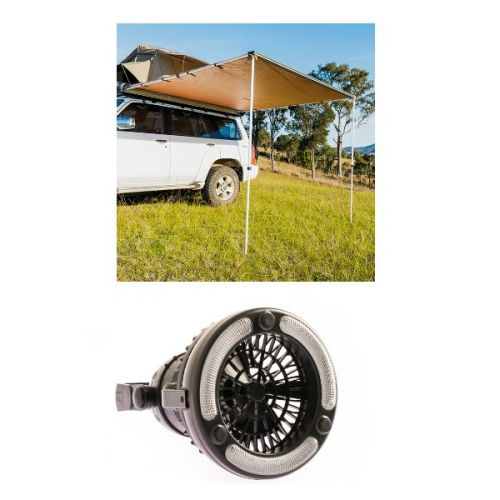 2.5 x 2.5m 2 in 1 Awning + Strip Light  + Adventure Kings 2in1 LED Light & Fan