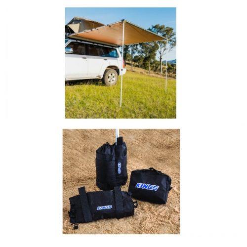 2.5 x 2.5m 2 in 1 Awning + Strip Light  + Adventure Kings Sand bag (pair)