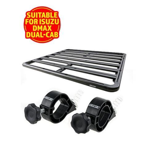 Adventure Kings Aluminium Platform Roof Rack Suitable for Isuzu DMAX Dual-Cab 2012+ + Platform Roofrack Shovel Holder