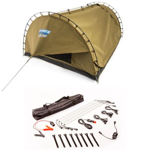 Adventure Kings Double Swag Big Daddy Deluxe + Illuminator 4 Bar Camp Light Kit