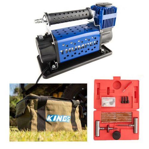 Thumper 12v Air Compressor 160L/M 150PSI + Canvas Thumper Bag + Hercules Tyre Repair Kit