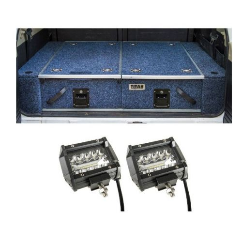 """Titan Rear Drawer with Wings suitable for Nissan Patrol GQ + 4"""" LED Light Bar (Pair)"""
