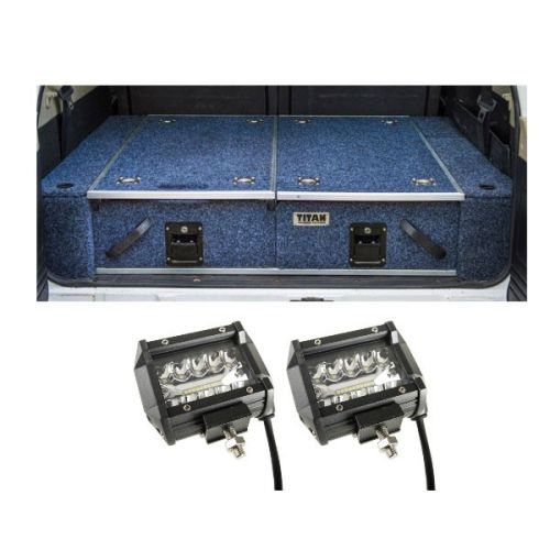 """Titan Rear Drawer with Wings suitable for Nissan Patrol ST-L, TI + 4"""" LED Light Bar (Pair)"""