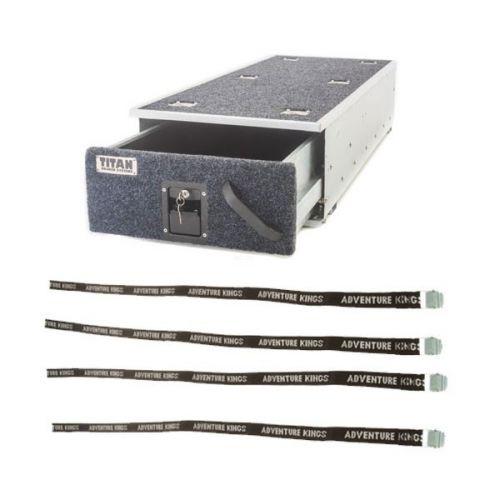 Titan Single Ute Drawer 1300mm + Fridge Tie Down Straps (4 pack)