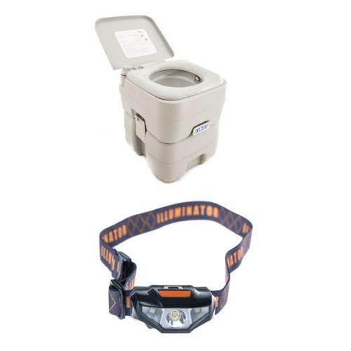 Adventure Kings Portable Camping Toilet + Illuminator LED Head Torch