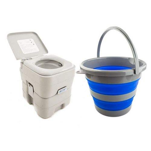 Adventure Kings Portable Camping Toilet + Collapsible 10L Bucket