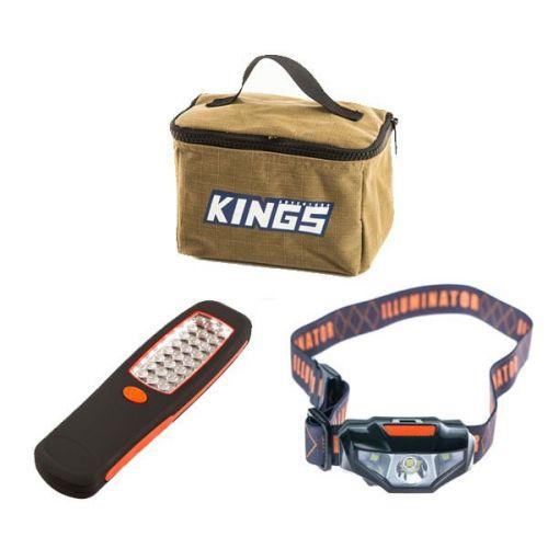 Adventure Kings Toiletry Canvas Bag + Illuminator 24 LED Work Light + LED Head Torch