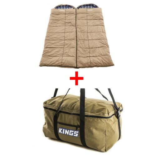 2x Adventure Kings Premium Sleeping bag -5°C to 5°C Degrees Celsius - Left and Right Zipper + Travel Canvas Bag