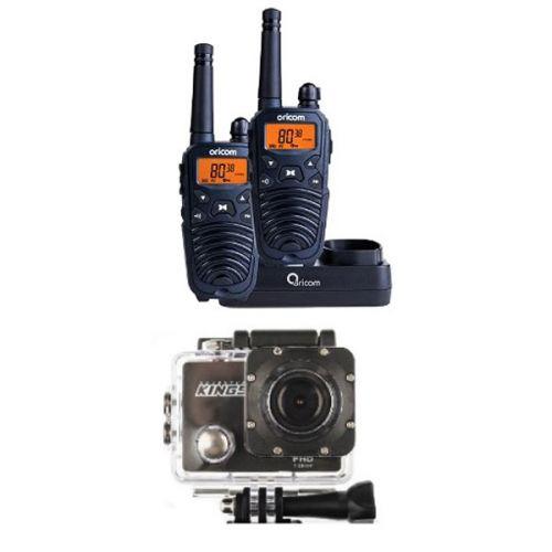 Oricom Handheld UHF CB Radio Twin Pack - UHF2190 + Adventure Kings Action Camera
