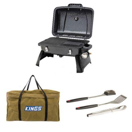 Gasmate Voyager Portable BBQ + Adventure Kings BBQ Canvas Bag + BBQ Tool Set