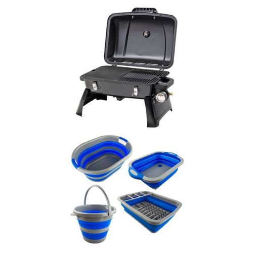 Adventure Kings Collapsible Sink + Collapsible 10L Bucket + Collapsible Laundry Basket + Collapsible Dish Rack + Gasmate Voyager Portable BBQ