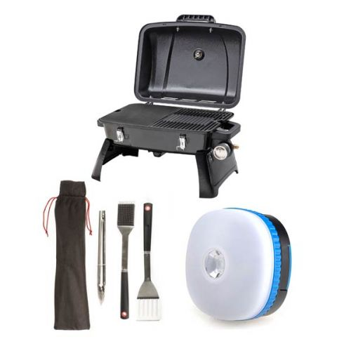 Gasmate Voyager Portable BBQ + Adventure Kings BBQ Tool Set + Mini Lantern